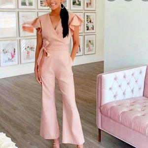 Rachel parcell blush ruffle sleeve jumpsuit